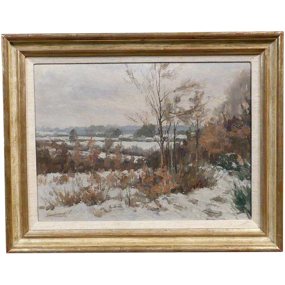 JAN VAN CAMPENHOUT Oil on Panel Painting, Winter Landscape