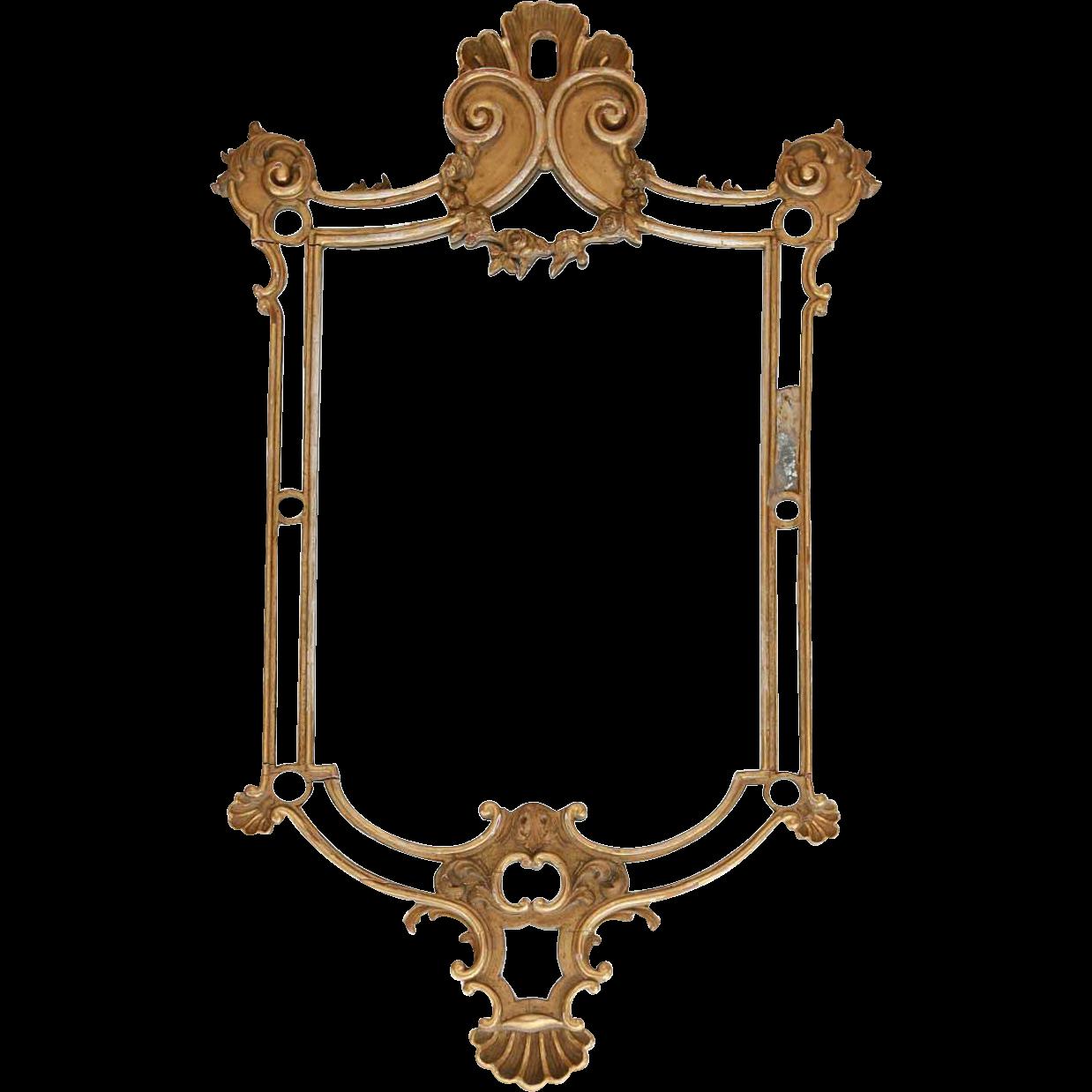 French Rococo Revival Gilt Pine Mirror