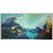 """ROBERT BENJAMIN NORRIS  Mid Century Abstract Oil Painting on Board """"Marine"""""""