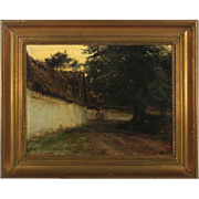 KNUD ERIK LARSEN Oil on Canvas Painting, Farm Exterior Dated 1891