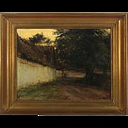 KNUD ERIK LARSEN Oil on Canvas Painting, Farm Exterior Dated 1891