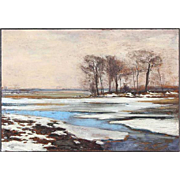 SIGVARD MARIUS HANSEN Oil on Canvas Impressionist Painting, Winter Landscape 1891