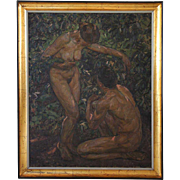 Large KNUD OVE HILKIER Oil on Canvas Painting, Adam and Eve
