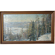 HUGO VILFRED PEDERSEN Oil on Canvas Snowscape Painting, Holmenkollen, Sørkedalen