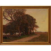HANS MATHIAS DALL Oil on Canvas Painting, Old Trees Evening