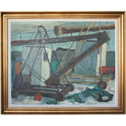RUTH FALK Oil on Board Painting, Danish Harbour Scene