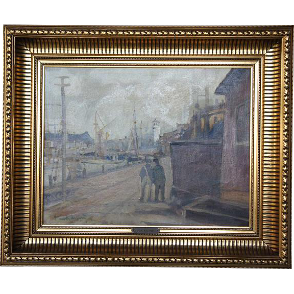 PAUL KASTRUP Oil on Canvas Painting, Industrial Harbor Scene