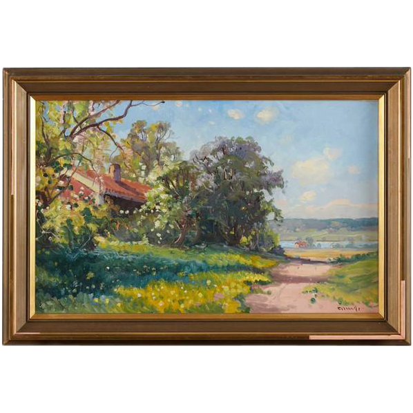 CARL BRANDT Oil on Canvas Painting, Cottage in the Summer Landscape