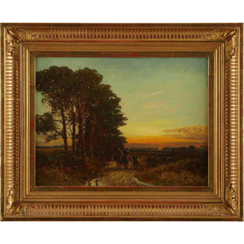 WILLIAM MANNERS, R.B.A. Oil on Canvas Painting, Landscape with Figures at Sunset