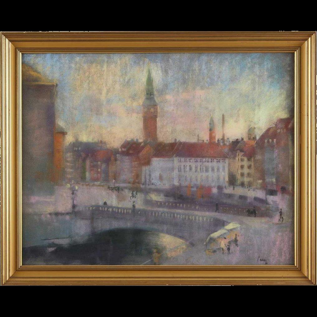 EDWARD ANDERS SALTOFT Pastel, Scenes from Copenhagen