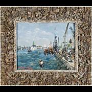 ANGHEL VASILE Oil on Board Painting, Paris Harbor