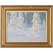 ERIC RHONNSTAD Oil on Board Painting, Snow Covered Forest