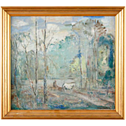 HUGO CARLBERG Oil on Board Painting, Early Summer Forest Scene