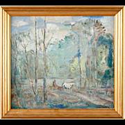 HUGO CARLBERG Oil on Board Painting, Early Summer Forest Scene