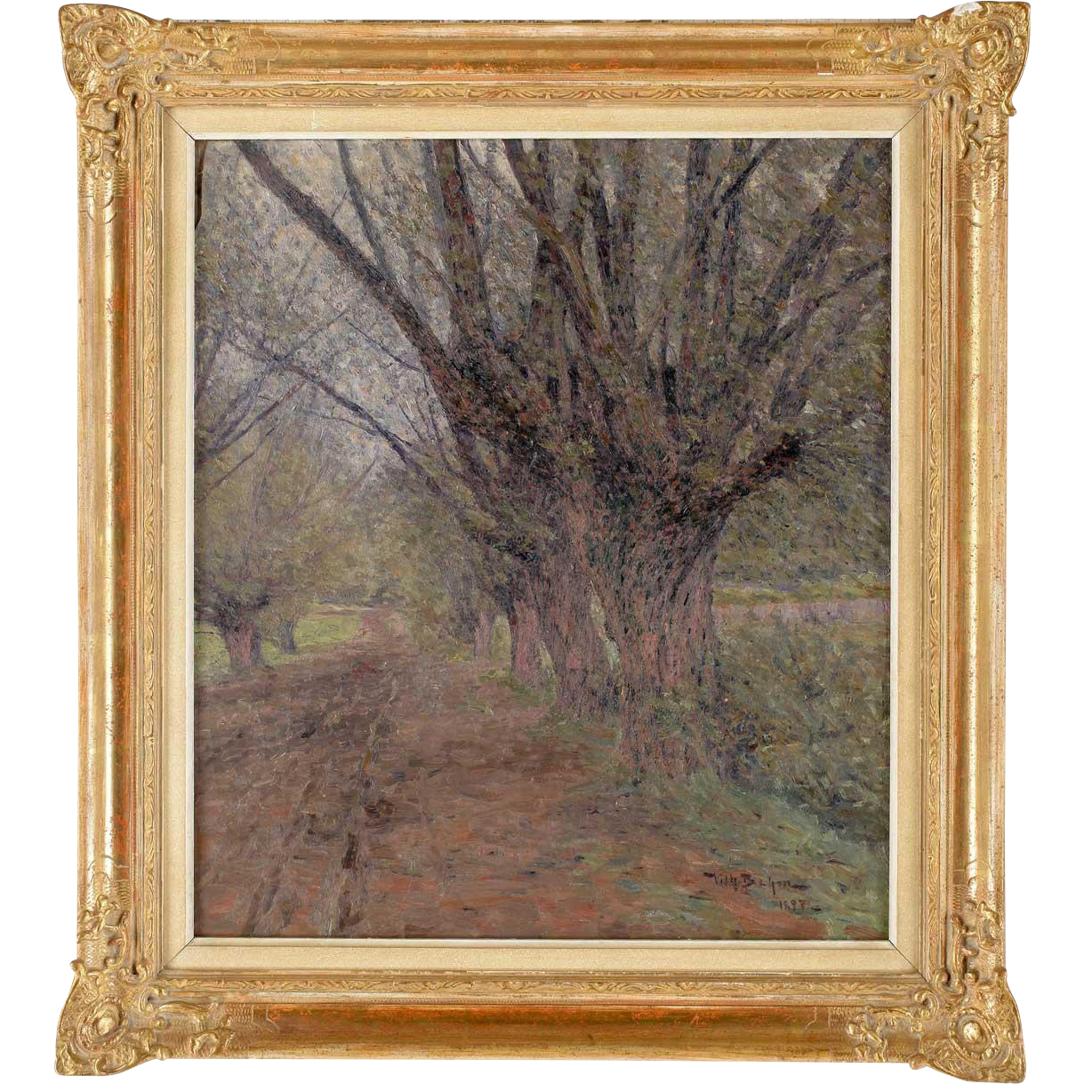 WILHELM BEHM Oil on Canvas Painting, Country Lane