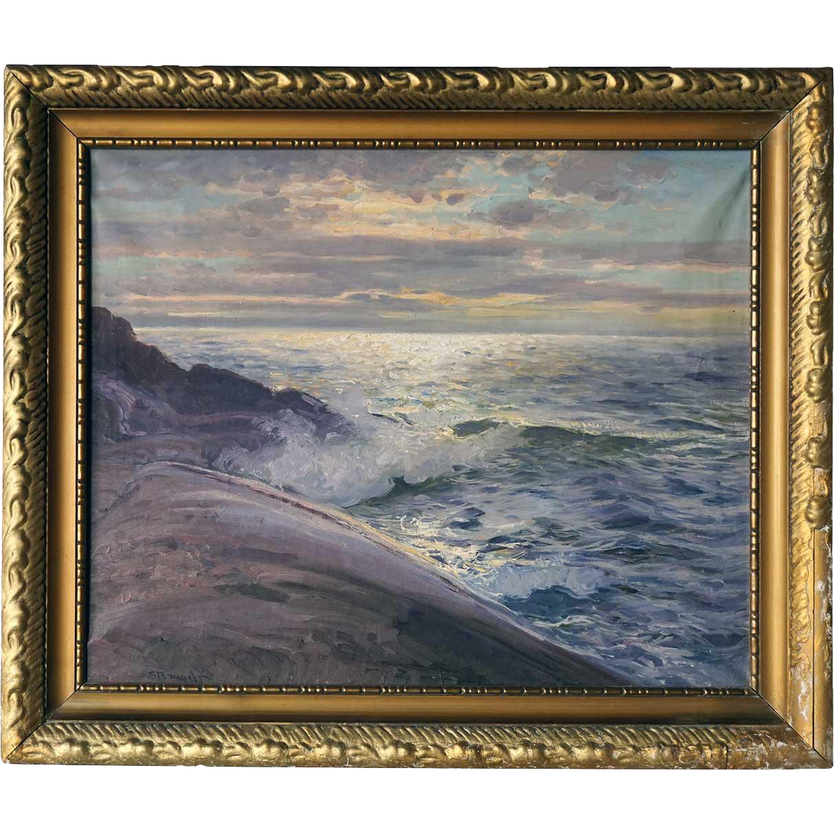CARL BRANDT Oil on Canvas Painting, Crashing Waves