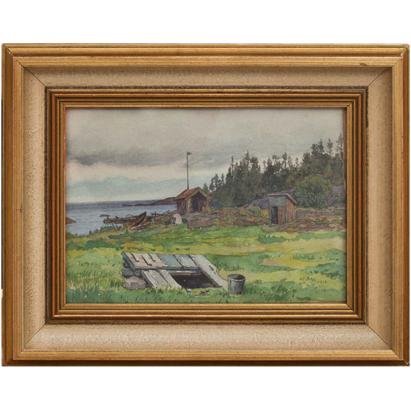 GUNNAR WIDFORSS Watercolor Painting, Shoreside Sheds