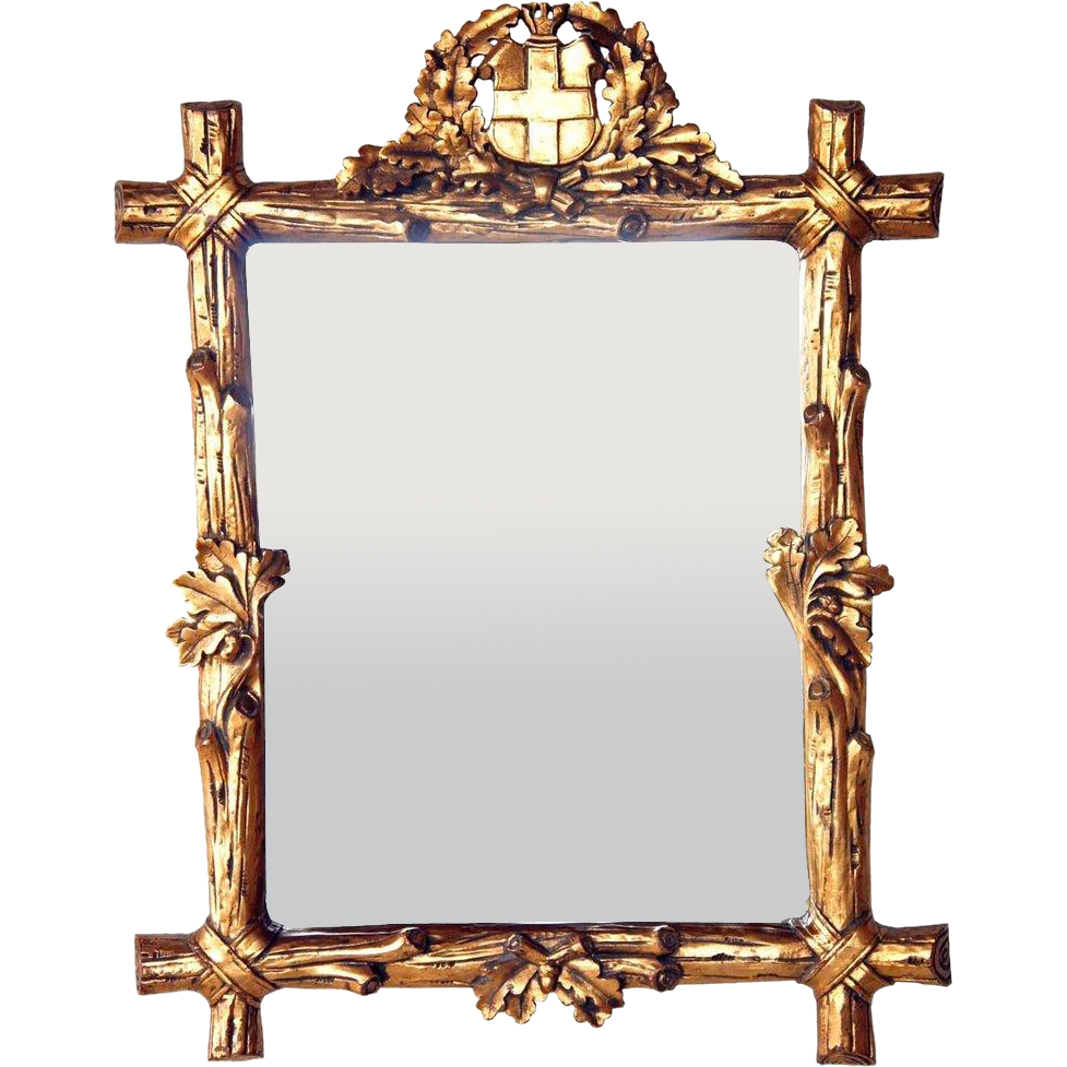 Swiss Black Forest Style Gilt Frame Mirror