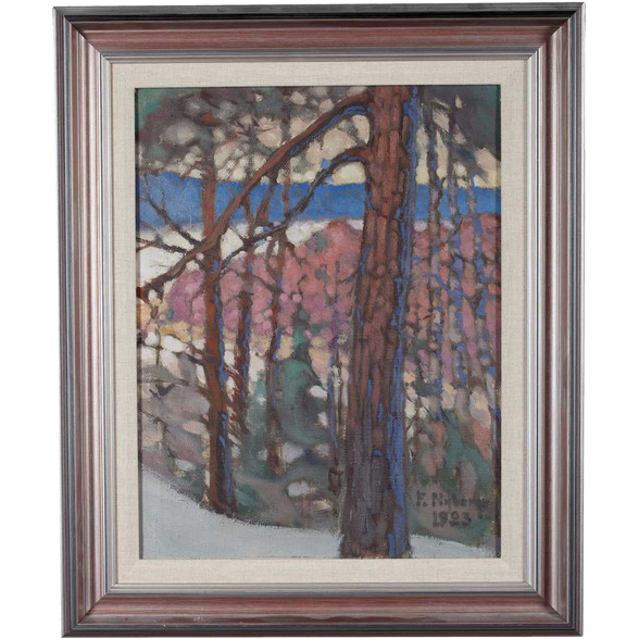 FRANS NYBERG Oil on Canvas Painting, Borgbacken Forest