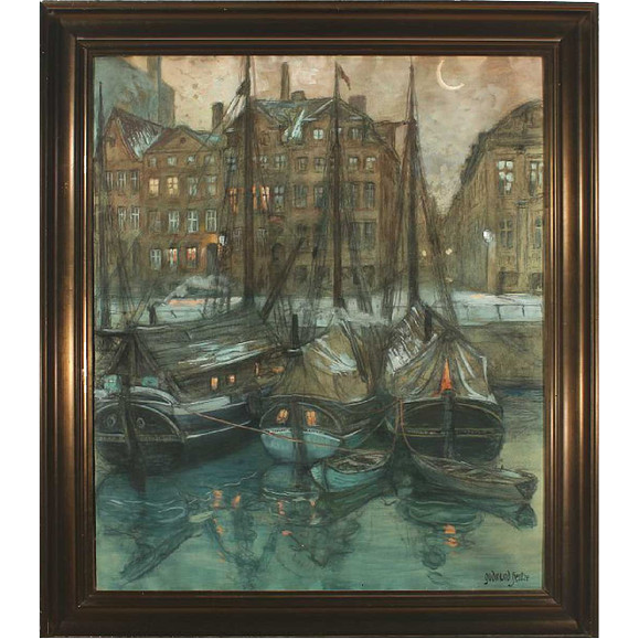 GUDMUND HENTZE Pencil and Gouache on Paper, Danish Canal Scene in the Moonlight