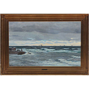 Vilhelm Carl Ferdinand Arnesen Oil on Canvas Painting, Swedish Coastal Scene