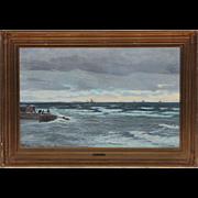Vilhelm Carl Ferdinand Arnesen Oil on Canvas Painting, Swedish Coastal Scene