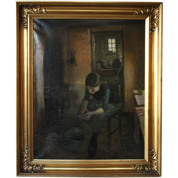 Oil on Canvas Painting, Interior Scene  with a Girl Peeling Potatoes