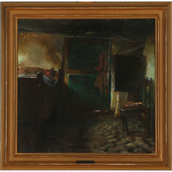 AXEL SOEBORG Oil on Canvas Painting, Interior of a Farmhouse