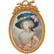 Signed Miniature Cabinet Portrait Painting of a Young Lady