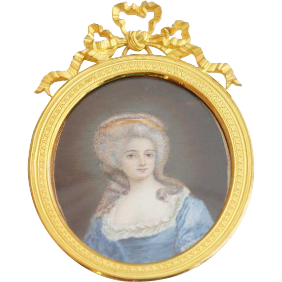French Miniature Cabinet Painting, Portrait of a Lady