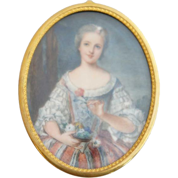 Continental Miniature Cabinet Painting, Portrait of a Young Girl