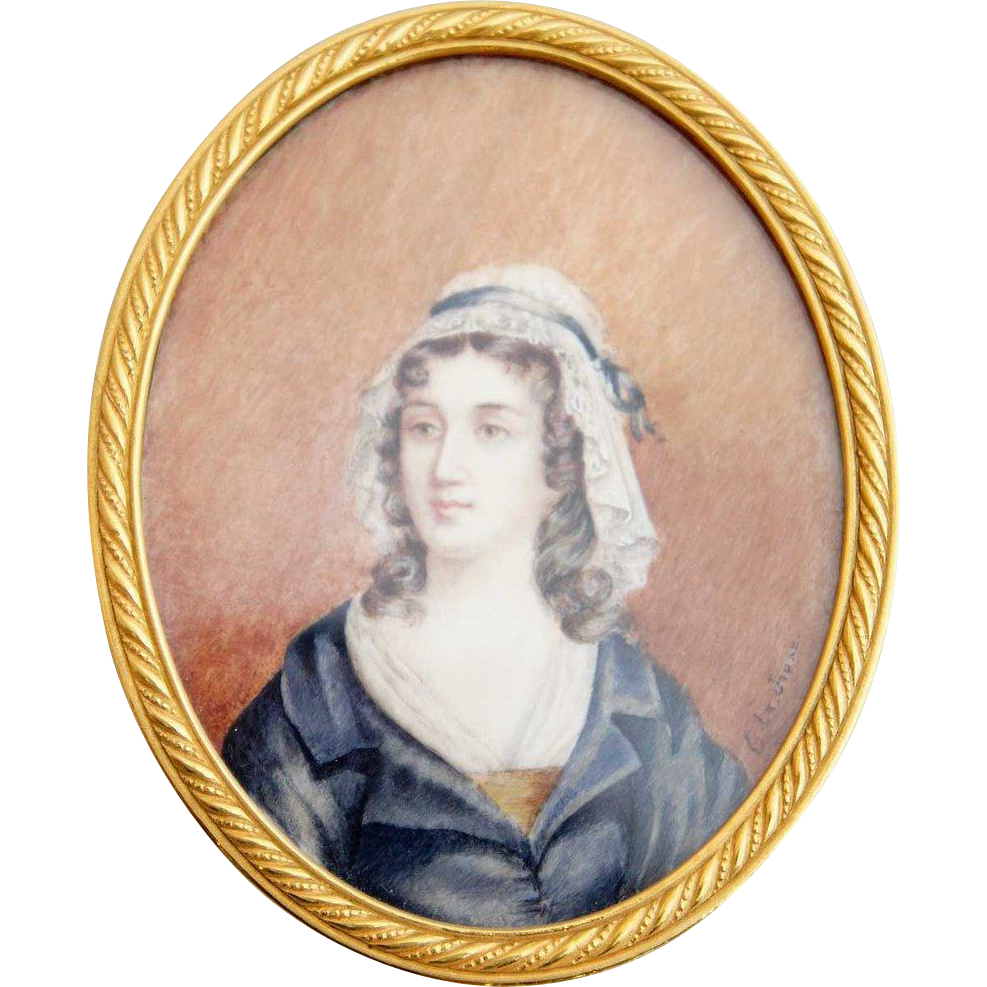 French G. Le JEUNE Portrait Miniature Painting on Celluloid of a Lady
