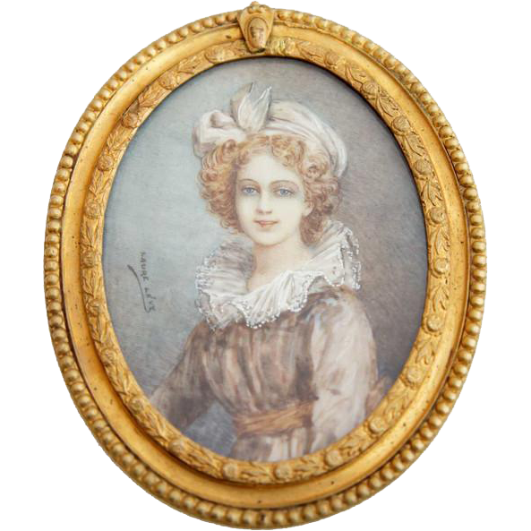 Signed LAURE LEVY Miniature Portrait Painting on Vellum of a Girl