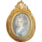 Continental Portrait Miniature Painting of a Young Lady