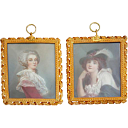 Pair of French FABRY Portrait Miniature Paintings on Ivory of Ladies