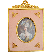 Signed Miniature Oil on Vellum Painting, Portrait of Madame de Brines