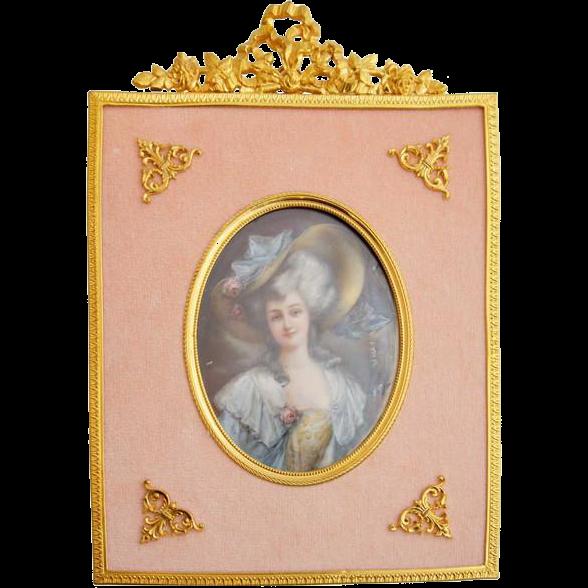 Signed Miniature Oil on Vellum Painting, Portrait of Madame de Brines