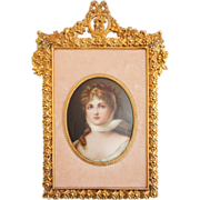 German Jugendstil Miniature Portrait on Porcelain of Queen Louise of Prussia
