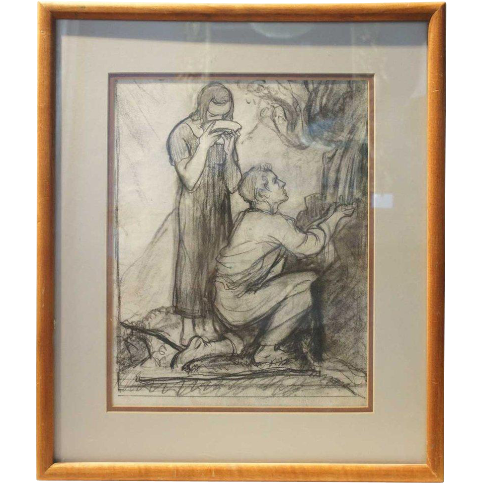 ALBERT STERNER Charcoal Drawing on Paper, Couple at Well