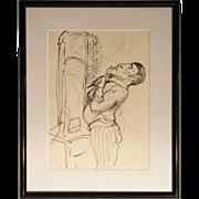 ALBERT STERNER Original Ink Drawing on Paper, Caricature Sketch