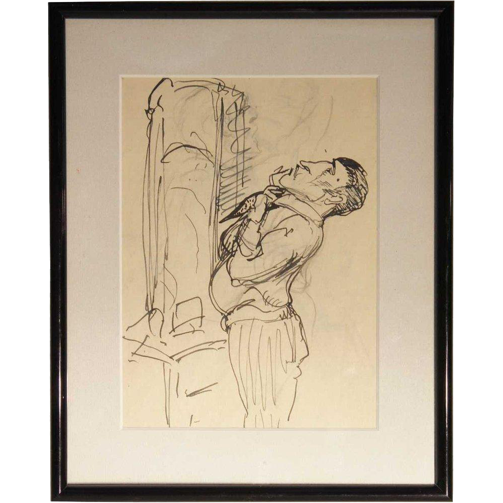 ALBERT STERNER Original Ink Drawing on Paper, Caricature Sketch