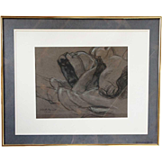 ALBERT STERNER Chalk Sketch on Paper, Death