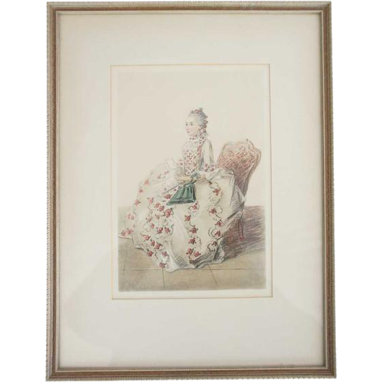 English Hand Colored 18th Century Fashion Plate Engraving