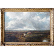 EDMUND MORISON WIMPERIS Oil on Canvas Painting, Cattle Droving on the Heath