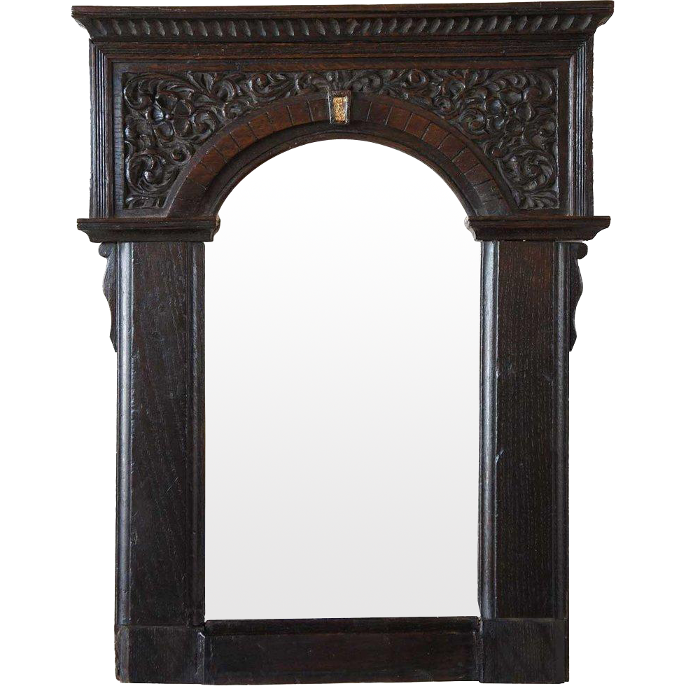 English Renaissance Revival Oak Mirror