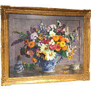 MARTHE MOISSET Oil on Canvas Painting, Floral Still Life