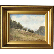 EDWARD ROMAINE BOWDISH Oil on Canvas Painting, Pastoral Landscape