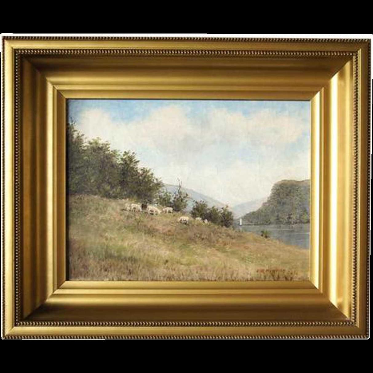 EDWARD ROMAINE BOWDISH Oil on Canvas Painting, Pastoral Landscape