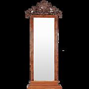 Large Swedish Flame Mahogany Veneer Pier or Floor Mirror