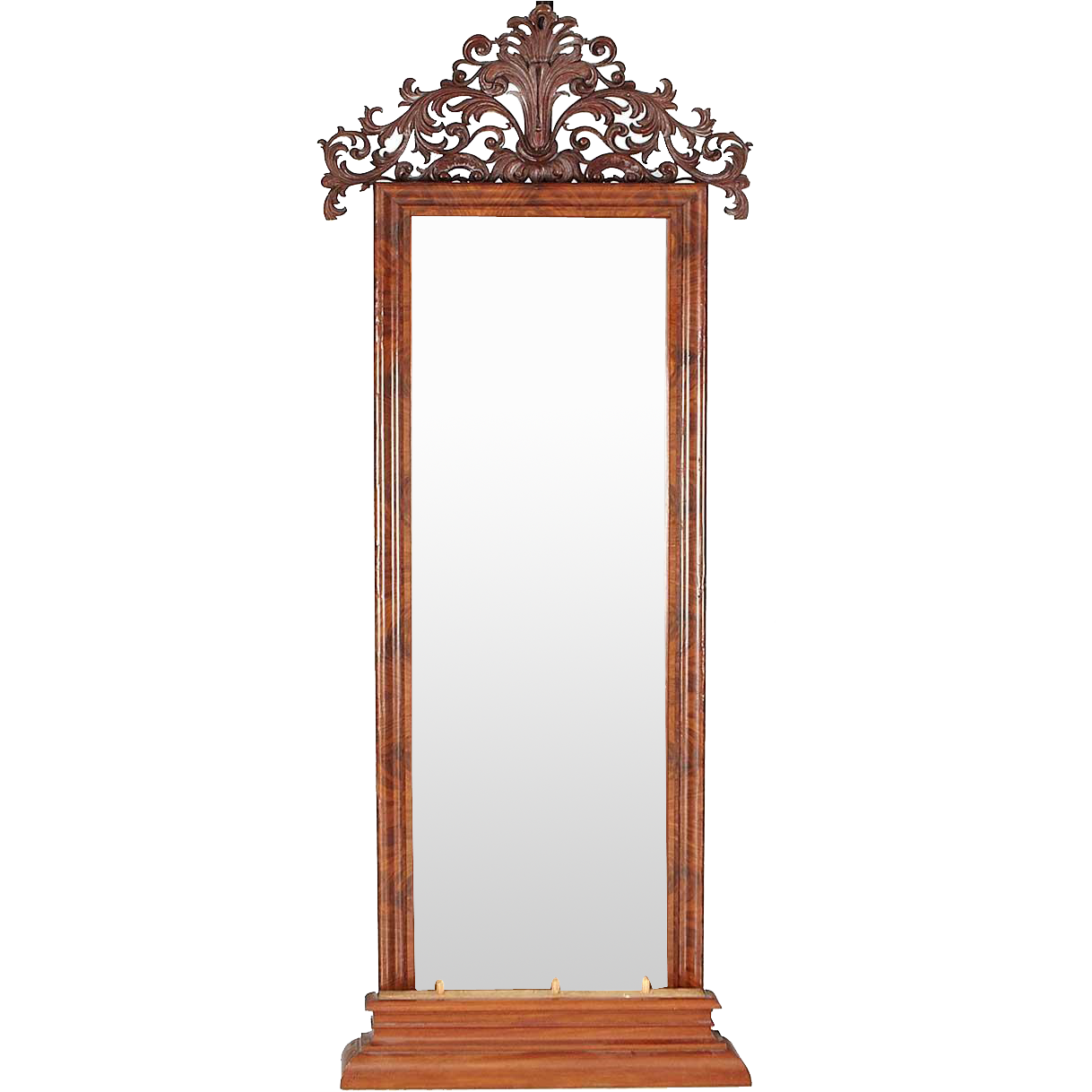 Large Swedish Flame Mahogany Veneer Pier or Floor Mirror